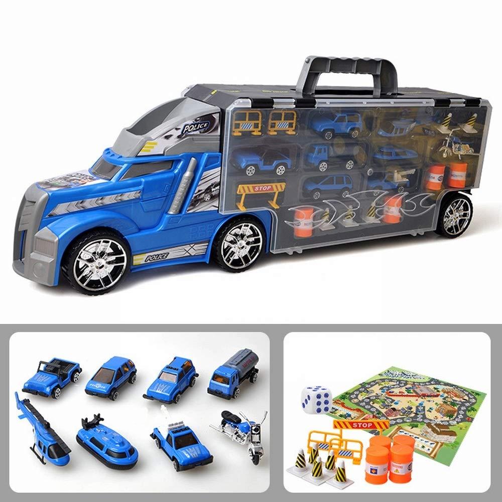 Color : Constructivealloyset Jiuyizhe Jouet pour Enfants Grand conteneur Portable Camion Police Voiture Ancienne Simulation mod/èle de Voiture de Police Jouet