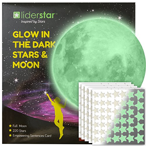 (Glow in The Dark Stars and Free Removable Full Moon Wall Stickers 220 adhesive Glowing Star Beautiful Wall Decals for Bedroom. for Room,light your Ceiling, Bonus Affirmation Card for Kids By LIDERSTAR )