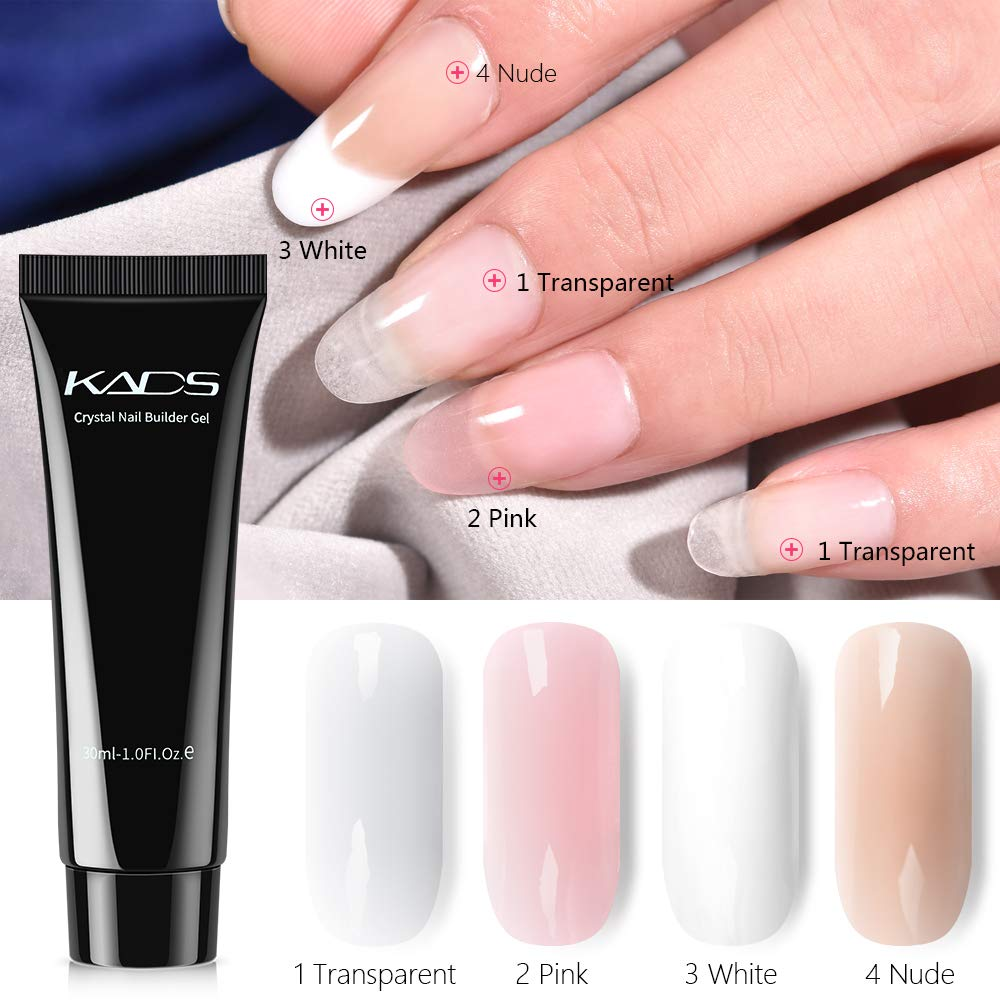 KADS Nail Extension Gel Kit Nail Enhancement Builder Gel Nail Extension nail extension gel Trial Kit Professional Nail Technician All-in-One French Kit (4 Gels) by KADS