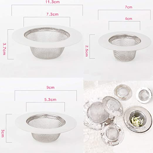 2 piezas de filtro de acero inoxidable,Mini colador del fregadero,Filtro del filtro del dren del fregadero del acero inoxidable,Filtro tamiz,Filtro de acero inoxidable Filtro de fregadero