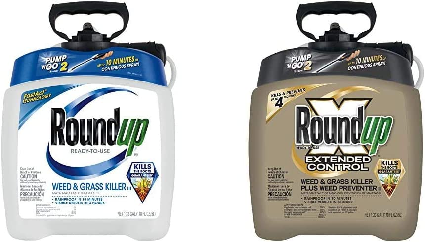Roundup Ready-to-Use Weed & Grass Killer III - with Pump 'N Go 2 Sprayer, 1.33 gal. & Ready-to-Use Extended Control Weed & Grass Killer Plus Weed Preventer II with Pump 'N Go 2, 1.33 gal.