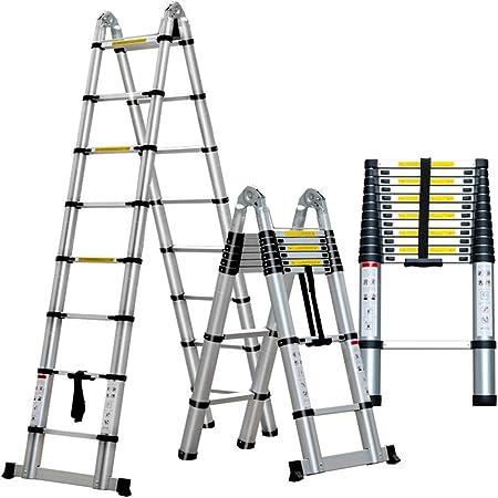 ZR- Escalera Telescópica, Escalera Aleación Aluminio - Escalera Plegable, Escalera Recta Elevación, Escalera Ingenieria -Fácil de almacenar y fácil de llevar (Tamaño : 3.7m+3.7m=7.4m(24.28 ft)): Amazon.es: Hogar