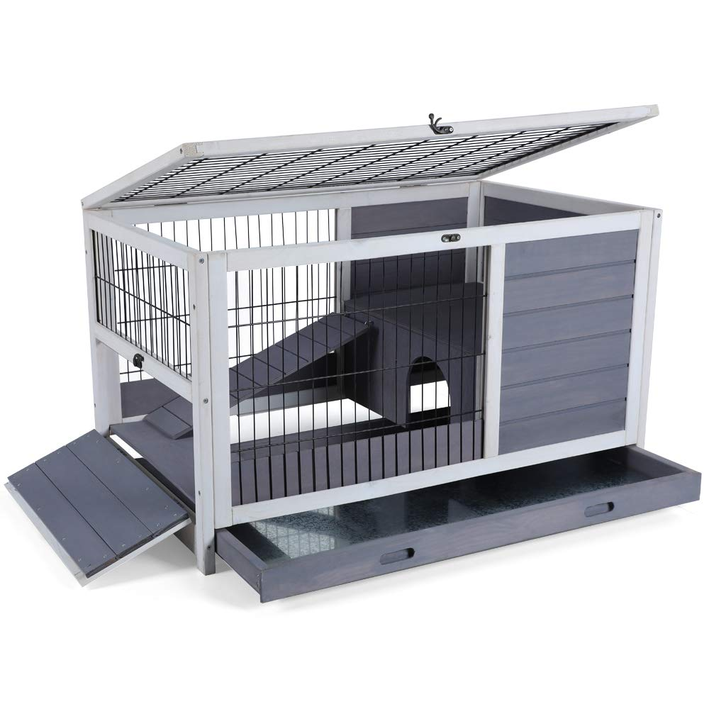 Petsfit Rabbit Hutch/Guinea Pigs House for Indoor Use with Hide Out and Side Steps 35.5'' x 21'' x 21''