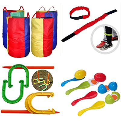 HudsonTech Kids Backyard Lawn Birthday Party Games - Potato Sack Race Bags for Fun Outdoor Games - 4 Great Relay Race Outside Carnival Games for Adults and Kids: Toys & Games