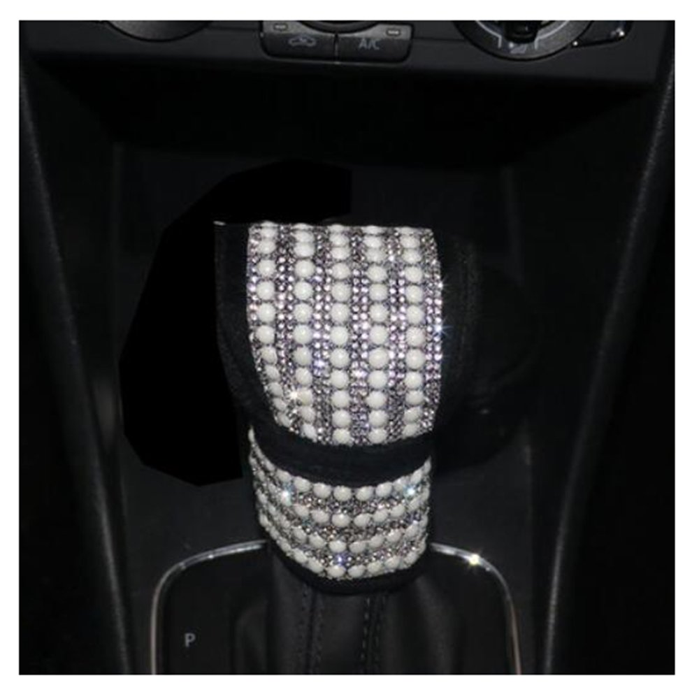 LuckySHD Car Gear Shift Cover with Bling Rhinestones Pearl Car Accessories Case