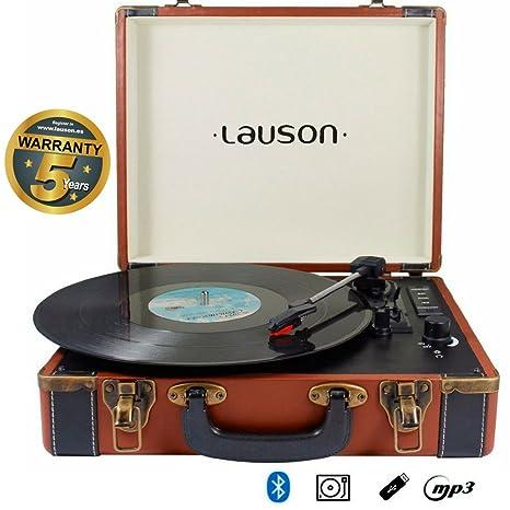 Lauson Tocadiscos Maletín, Bluetooth, USB, Salida RCA ...