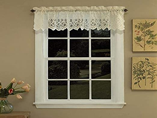 """Hopewell Heavy Floral Lace Kitchen Window Curtain 12/"""" x 58/"""" Valance"""