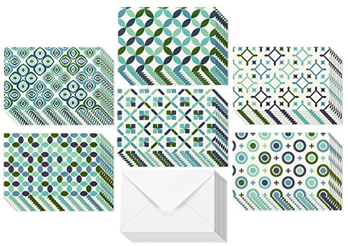 All Occasion Circular Geometric Design Greeting Cards - 6 Seamless Symmetrical Designs Blue Green, Envelopes Included - 48 Pack