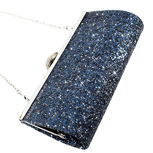 Wocharm Evening Gold Clutch blue Glitter Fashion Sparkly Bridal Black Party Silver Purse Prom Womens Bag Navy Handbag rT0rqzw