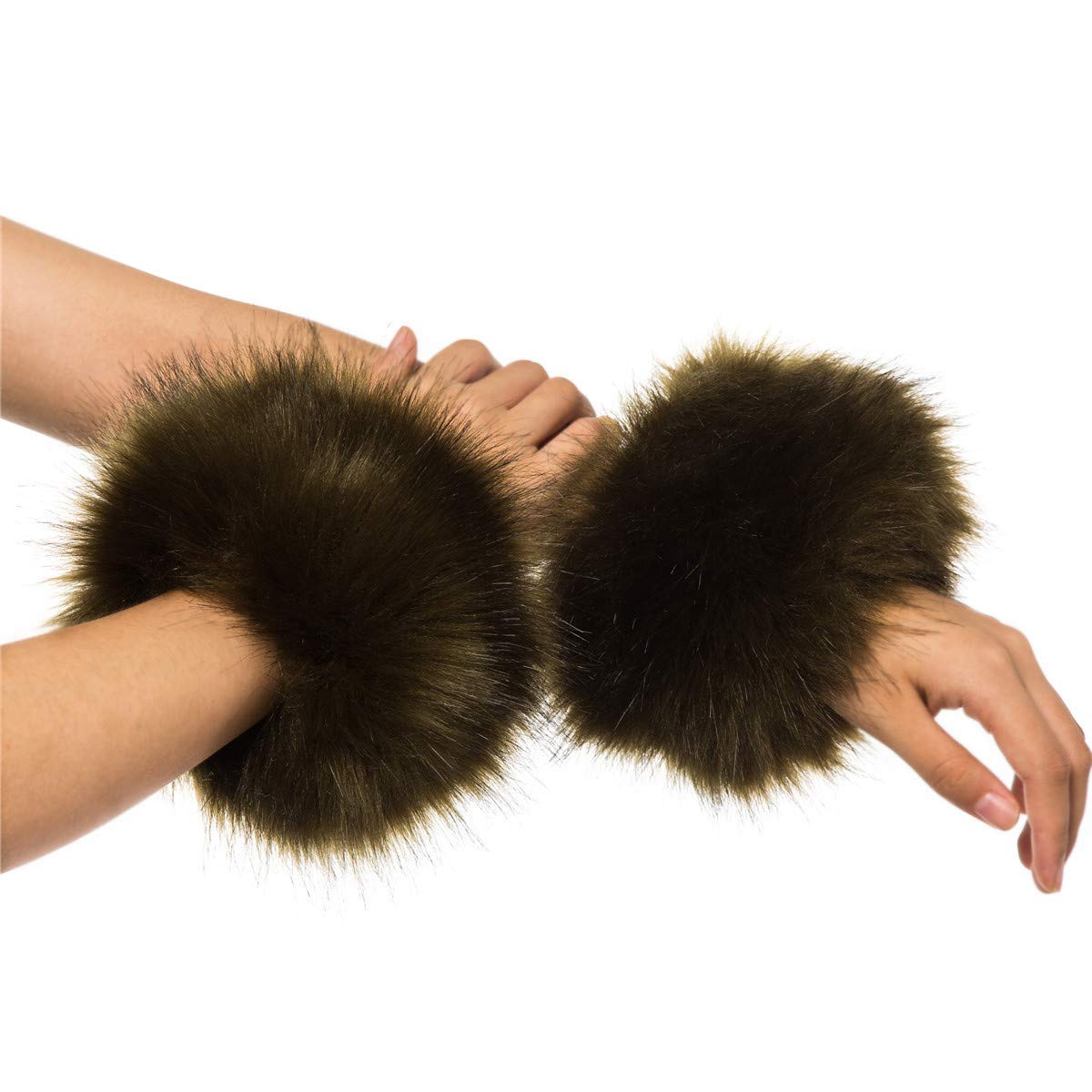 Lucky Leaf Women Cozy Warm Faux Fur Wrist Guard Band Ring Cuffs For Winter