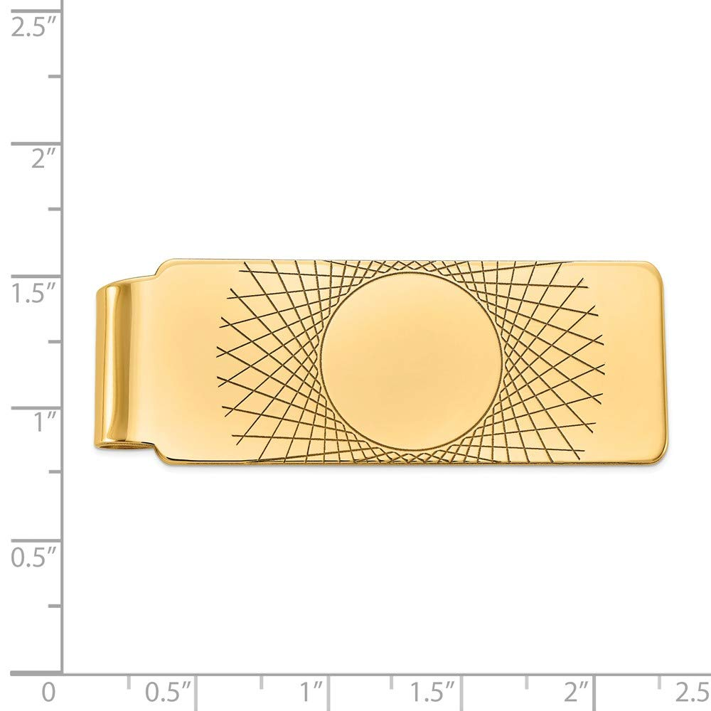 Mens 14k Yellow Gold Carved Fold-Over Money Clip 20mm wide
