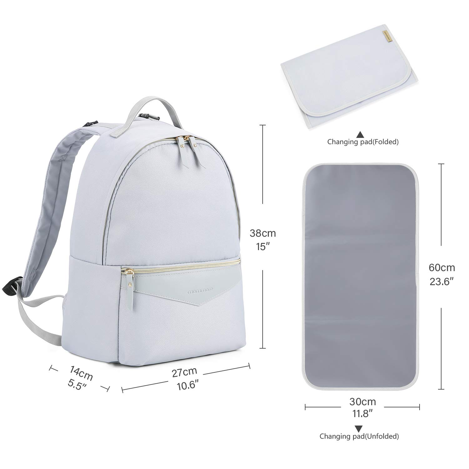 mommore Changing Bag Backpack Lightweight Backpack for Baby with Changing Mat and Pram Clips