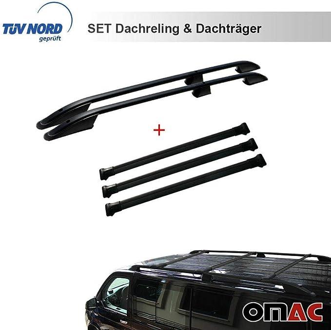 Omac Dachreling Dachträger Set Für T5 T6 Ab 2003 Langer Radstand TÜv Abe Mit TÜv Abe Schwarz Auto