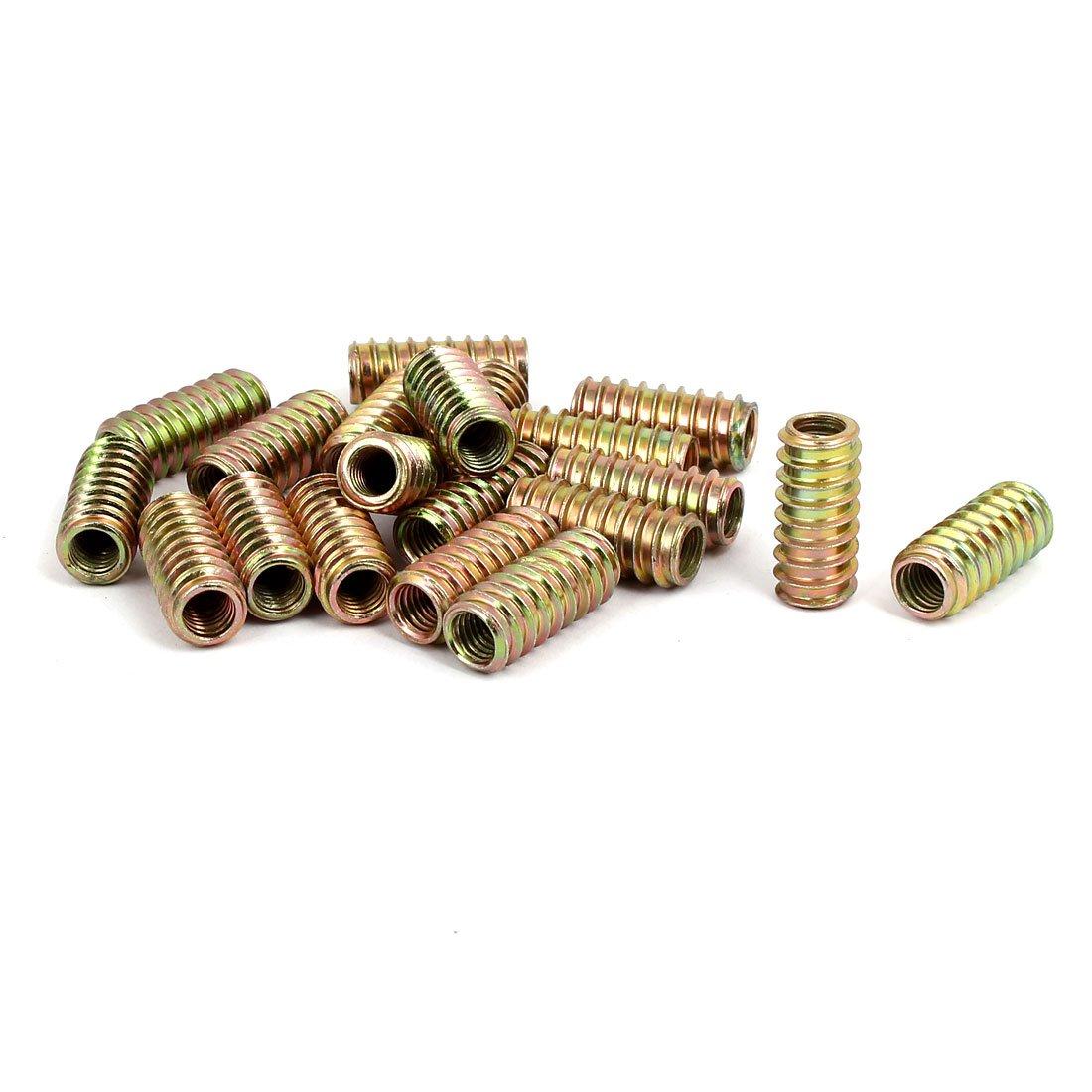 uxcell Wood Furniture Fixing M8x30mm Threaded Insert Nut E-Nut Bronze Tone 20pcs
