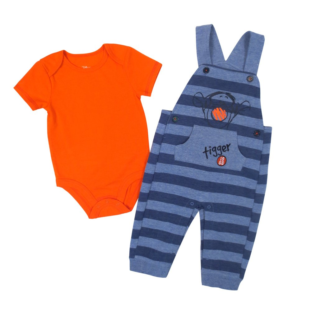 Disney Baby Boy's Tigger Overall/Creeper Set, Blue, 9M DS18IB366