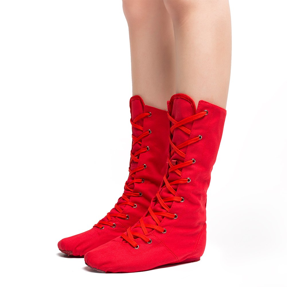 Women's Canvas Cosplay Dance Boots Red,5 M US
