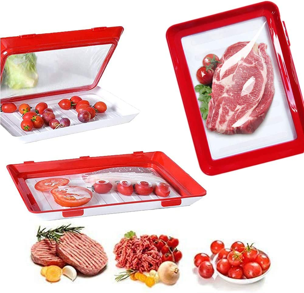 Food Preservation Tray Vacuum Sealed, 2 Pcs,Stackable and Reusable Food Storage Container for Keeping Vegetables, Fruits and Meat Fresh in Kitchen,