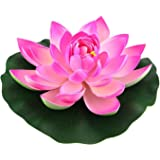 """Urvi Creations 2 Pcs Artificial Floating Lotus Flower Natural Looking 7"""""""