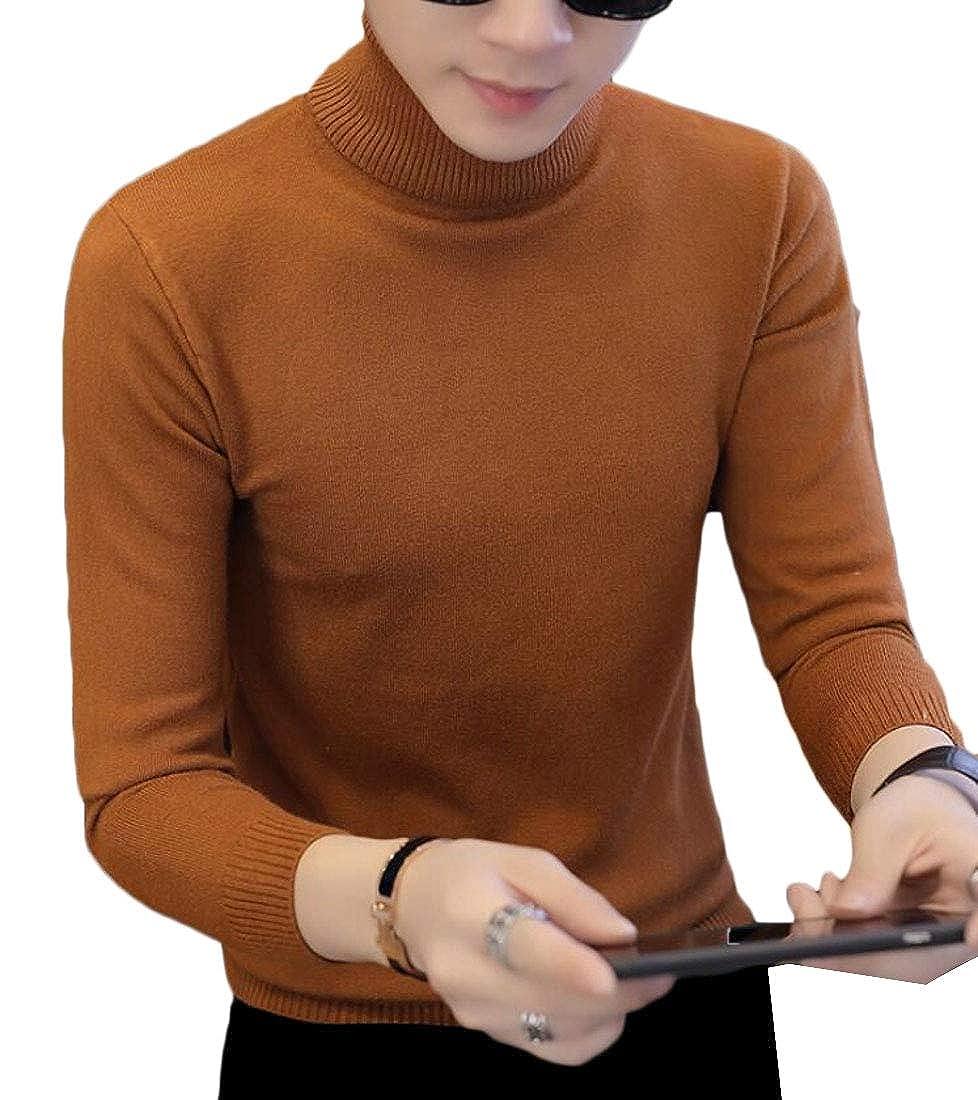 WSPLYSPJY Men Winter Turtleneck Knitted Pullover Slim Fit Long Sleeve Sweaters