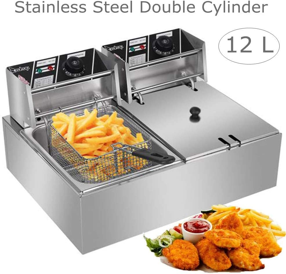 Suruc - Heavy Duty Deep Fryer, 110V 12L Stainless Steel Double Cylinder Deep Fryers with Removable Basket(12L-Double Cylinder)