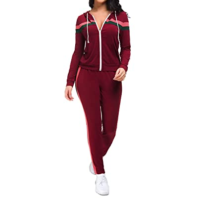 GOSO Women Sweatsuits Sets Casual Two Piece Tracksuits Zip Up Hoodie and Skinny Long Pants with Pockets at Women's Clothing store