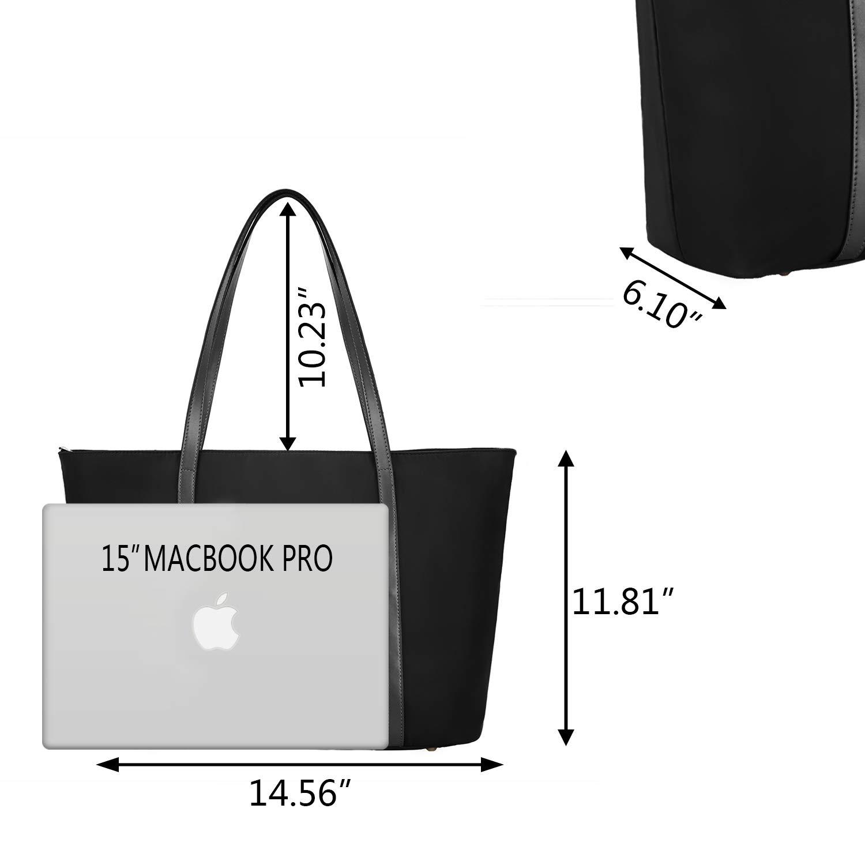 YALUXE Arbete tygväska för kvinnor passar 15,6 tum bärbar dator axelväska handväska med framficka Svart