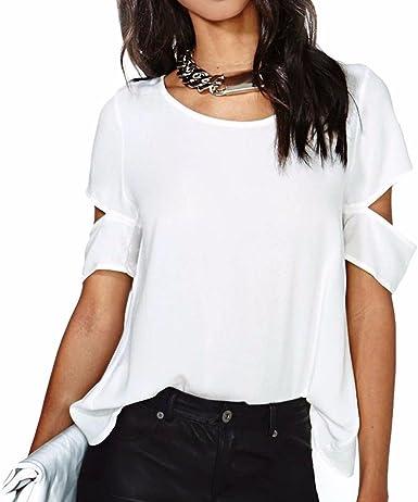 QIYUN.Z Mujeres De La Manga Corta De Color Blanco Puro Cruzan Las Camisas Sin Espalda Brazo Hueco Gasa Blusas: Amazon.es: Ropa y accesorios