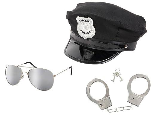 Alsino Juego de 3 Piezas: Gorra de policía Estadounidense + Gafas ...