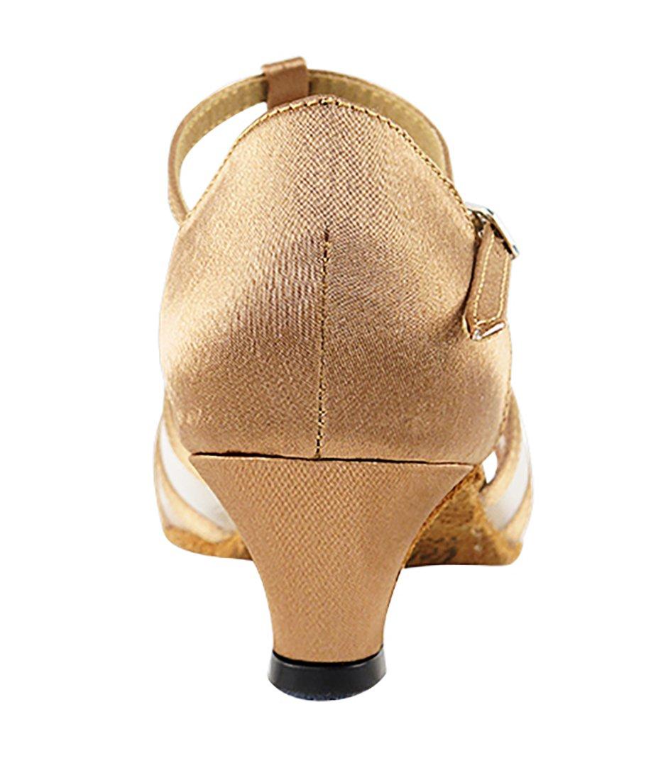 Very Fine Ballroom Latin Tango Salsa Dance Shoes for Women 16612 1.3-inch Heel + Foldable Brush Bundle - Brown Satin - Flesh Mesh - 7.5 by Very Fine Dance Shoes (Image #4)