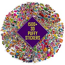 WATINC 3D Stickers for Kids, 58 Different Sheets 1500+, 3D Puffy Stickers,Including Animals, Cars, Trucks, Airplane, Food, Letters, Flowers, Pets and Tons More!