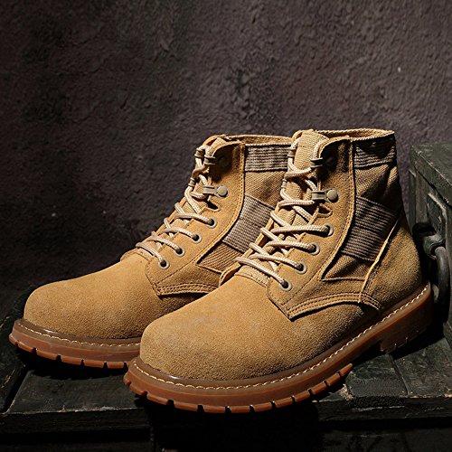 Gomnear Herren Wüste Stiefel Knöchel Leder Wildleder Beiläufig Boot Mode Eben Winter Anti-Rutsch Armee Schuhe Braun