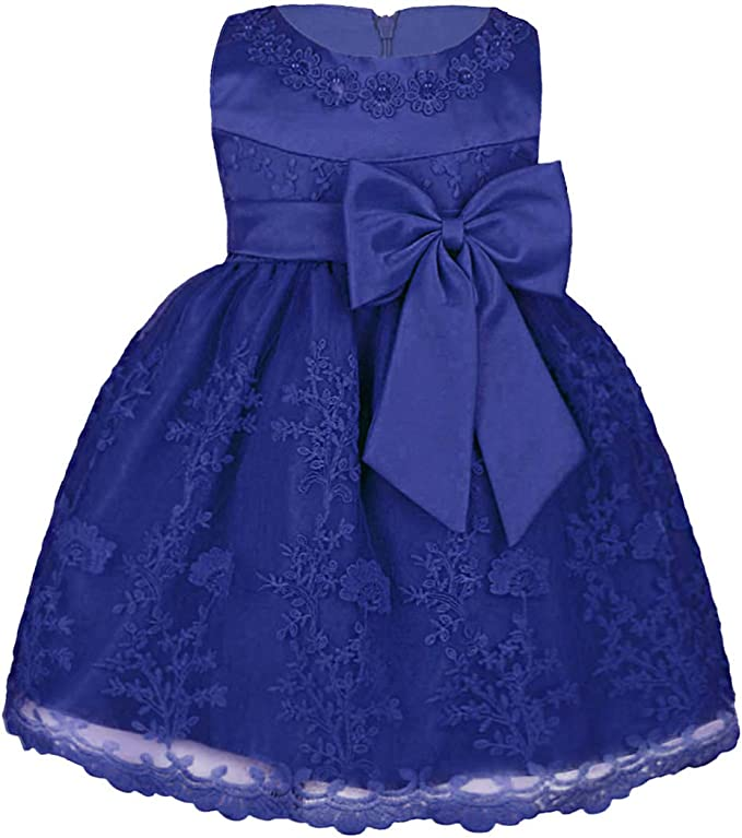iiniim Baby Girls Toddlers Princess Rose Flower Bow Dress Wedding Bridesmaid Party Communion Dresses