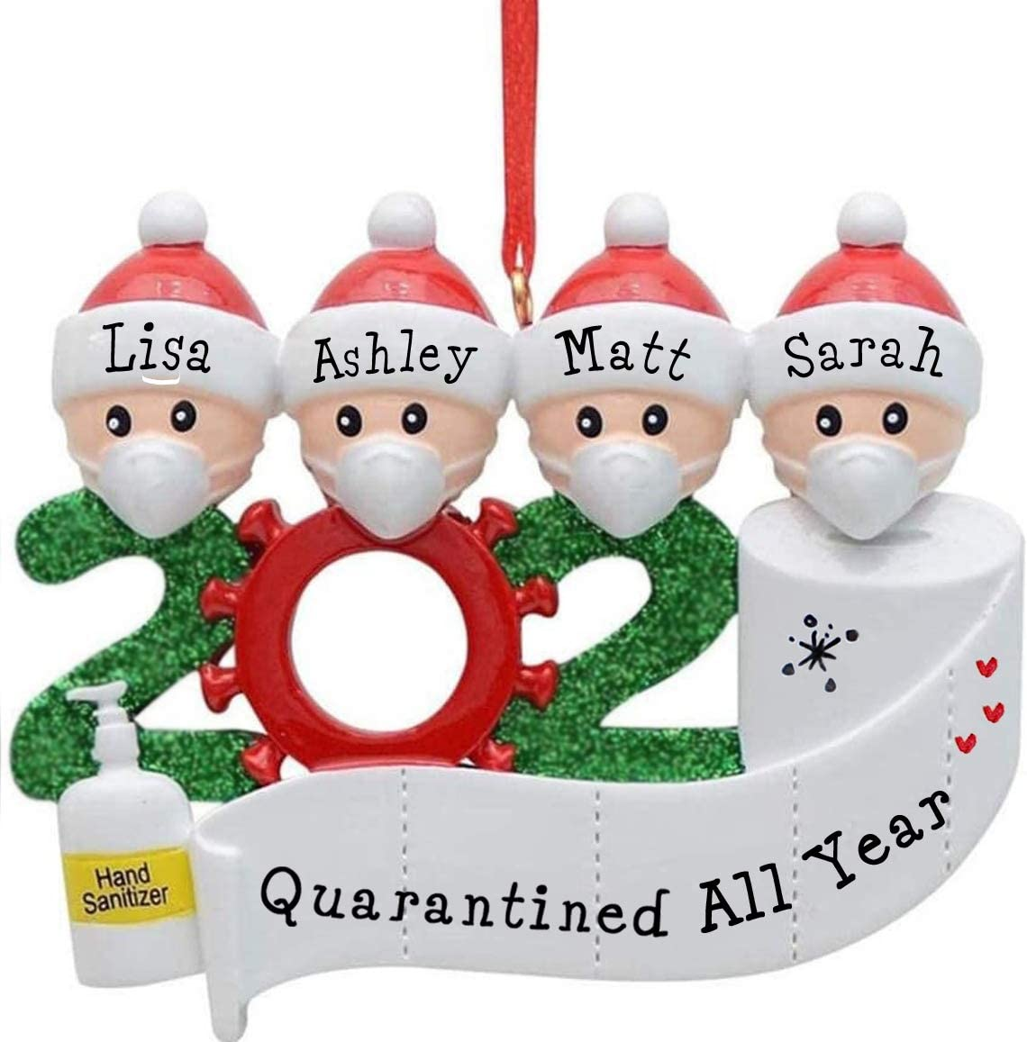 2020 Quarantine Personalized Ornaments Survivor Family Of 4 Christmas Ornament 4 Family Kitchen Dining
