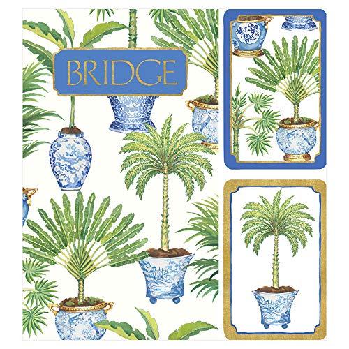 Caspari Potted Palms Large Type Bridge Gift Set, 2 Playing Card Decks & 2 Score Pads