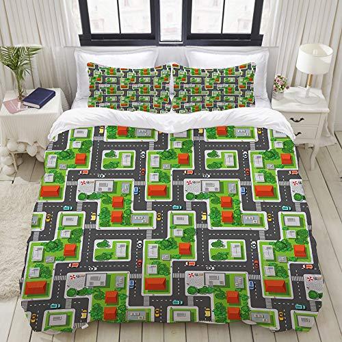MIMUTI Duvet Cover Set, City Birds Eye View Map Design Print, Decorative 3 Piece Bedding Set with 2 Pillow Shams, Queen/Full Size (Birds View Bed Eye)