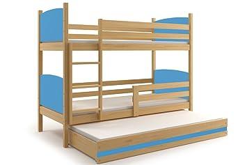 Drei Etagenbett : Etagenbett tami für drei kinder farbe kiefer cm mit