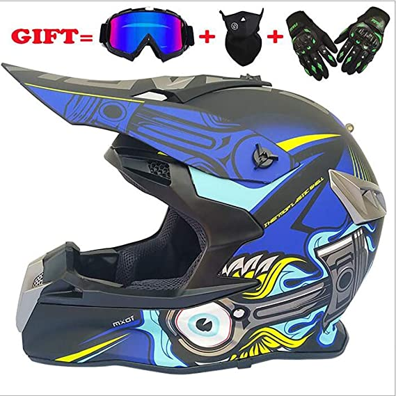 Shfmx Child//Adult Motocross Helmet D.O.T Certified MX Off-Road Scooter ATV Helmet with Goggles//Gloves//Mask,M