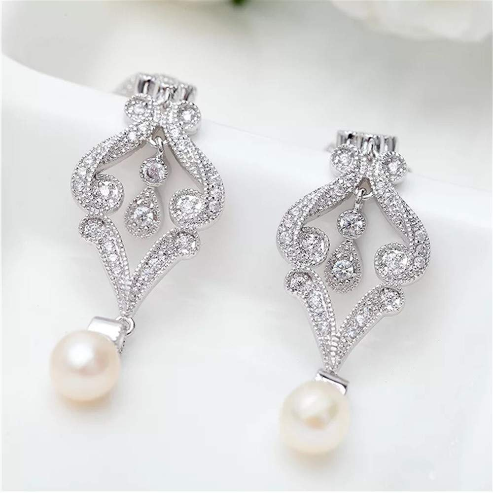 Vogzone Silver-Tone Vintage Cubic Zirconia Rhodium Scroll Bridal Earrings with Genuine Freshwater Pearl Drops for Wedding
