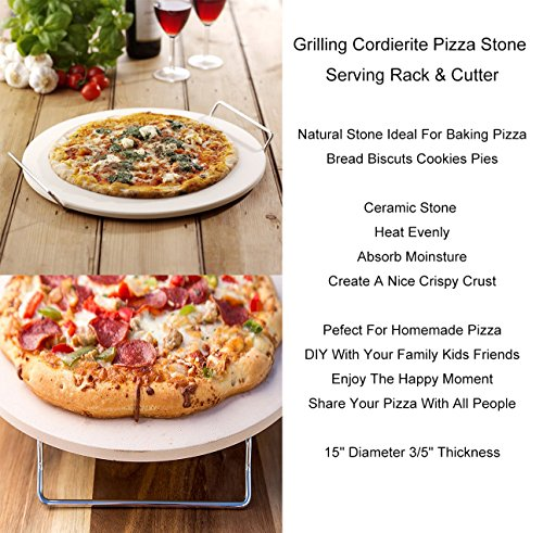 Pizza Stone for Oven 15 x 3/5'' BBQ Baking Stone Round Grilling Ceramic Pan with Cutter Handle Set, 15X3/5'' by GOVOG (Image #4)