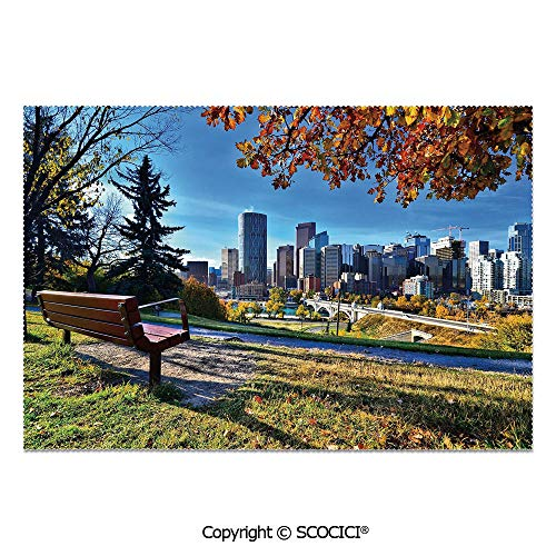 SCOCICI Place Mats Set of 6 Personalized Printed Non-Slip Table Mats Park Bench Overlooking The Skyline of Calgary Alberta During Autumn Tranquil Urban for Dining Room Kitchen Table Decor -