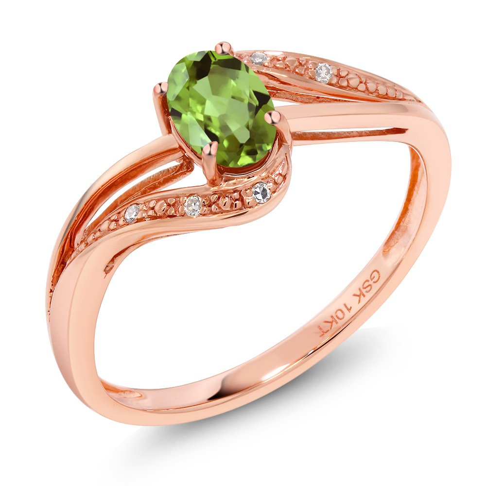 10K Rose Gold 0.54 Ct Green Peridot and Diamond Engagement Bypass Ring (Bypass Ring) (Size 7)