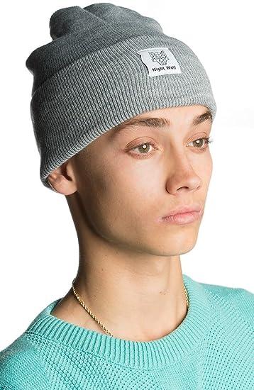 Nightwolf ® Men s Acrylic Fold Over Beanie Hat (Light Grey) at ... 36fc1f2283e