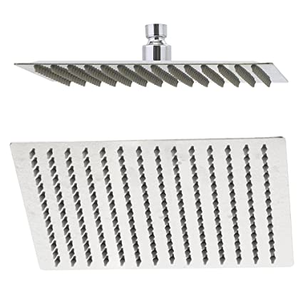 Rain Shower Head, 10 Inch Ultra Thin 304 Stainless Steel Solid Square  Showerhead, High