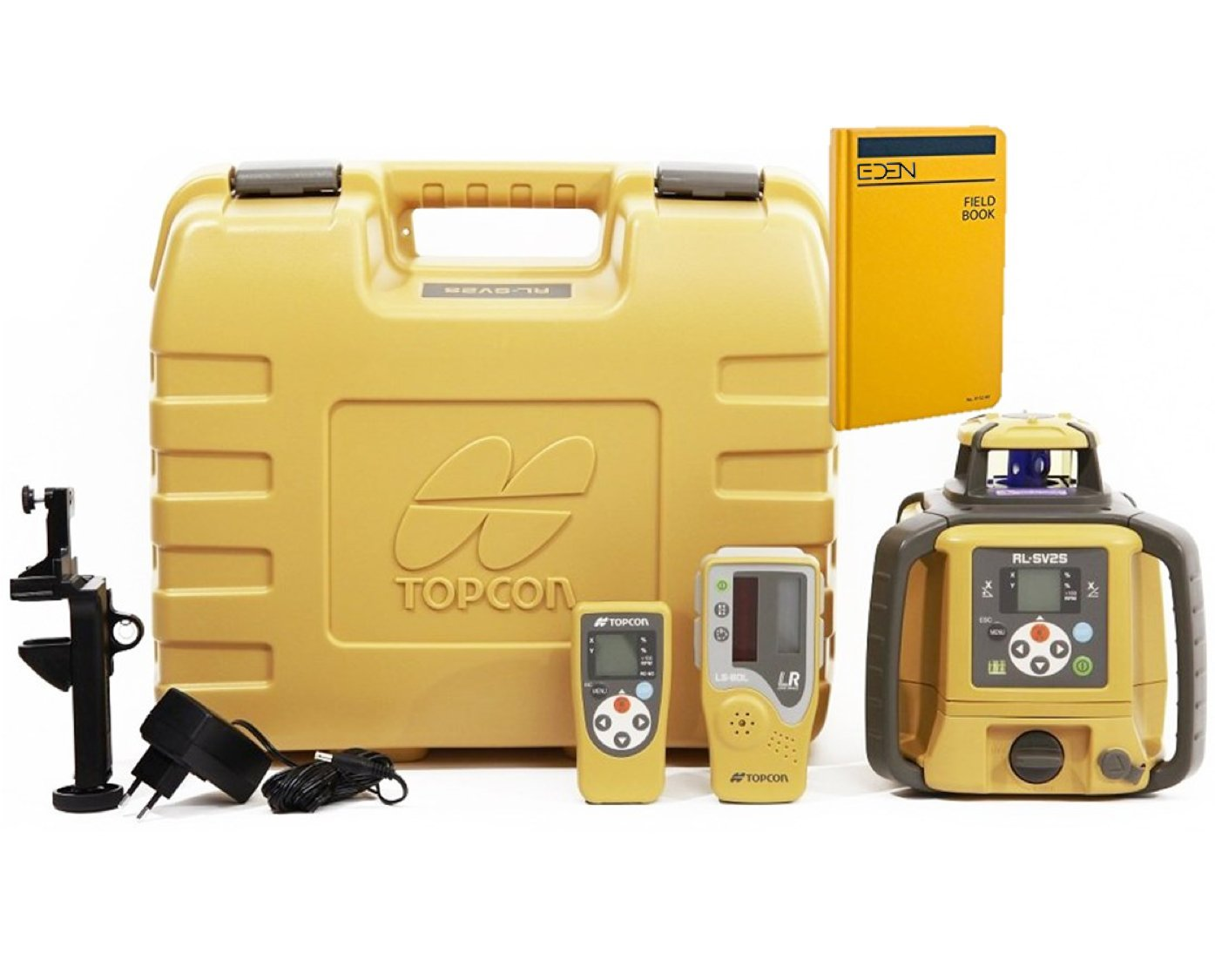 Topcon RL-SV2S Dual Grade Rotary Laser with BONUS EDEN Field Book | IP66 Rating Drop, Dust, Water Resistant | 800m Construction Laser | Includes LS-80L Receiver, Detector Holder, Hard Case