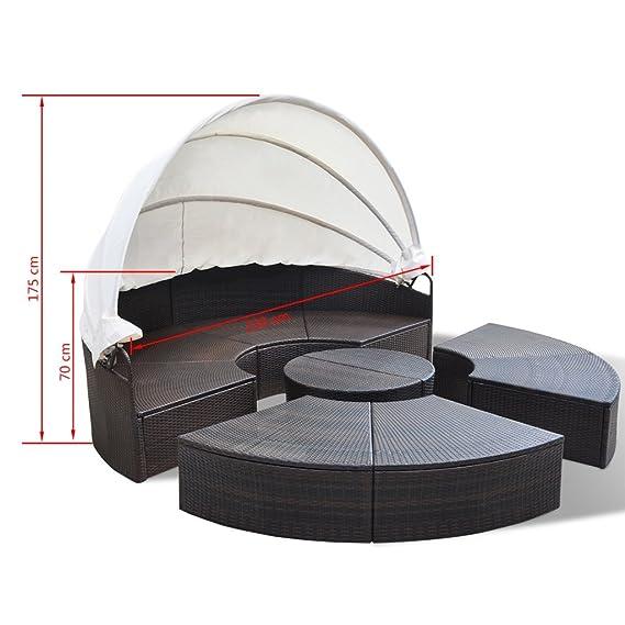 Amazon.de: VidaXL Sonneninsel Poly Rattan 230 Cm Sonnenliege Sitzgruppe  Gartenmöbel Muschel