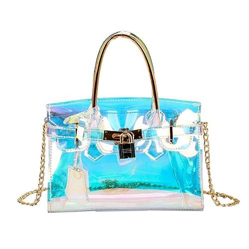 1d2b93a3e3 EROUGE Transparent Sling bag Clear Beach Waterproof Shoulder Bag Womens  Laser Hologram Shining Cross Body bag