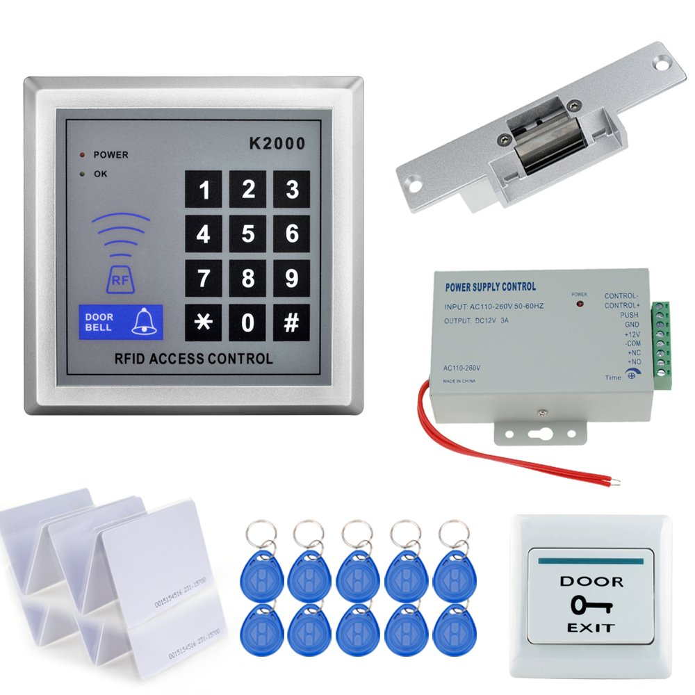 HFeng Kit de contr/ôle dacc/ès RFID 125KHz Access Controller 10 Cartes 12V // 3A Power Switch Bouton de lib/ération de Porte Fail Safe 180KG Serrure magn/étique /électrique