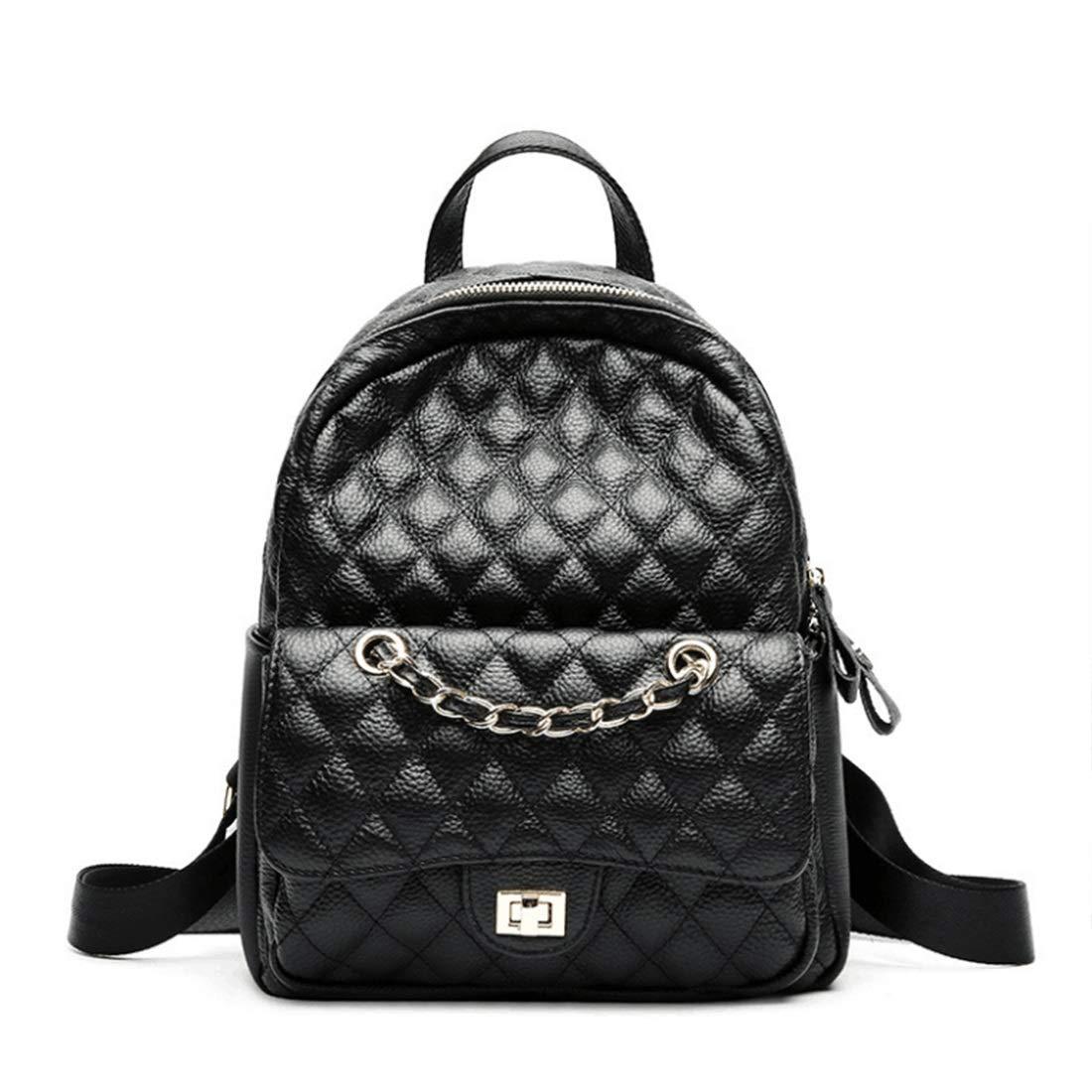 CAFUTY 女性のバッグバックパック財布レザースクールバッグカジュアルデイパックショルダーバッグ (Color : ブラック)  ブラック B07PQB7R6J