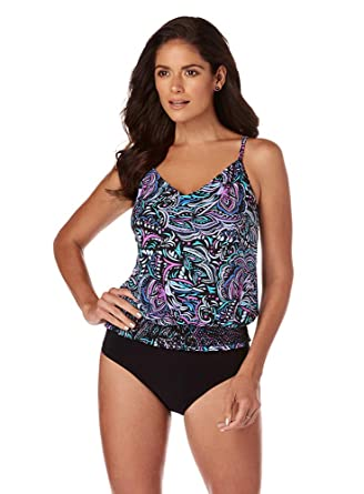 8683b79db6 Amazon.com: Magicsuit Women's Swimwear Gypsy Justina Blouson Style V-Neck Tankini  Top with Soft Cup Bra and Adjustable Straps: Magicsuit: Clothing