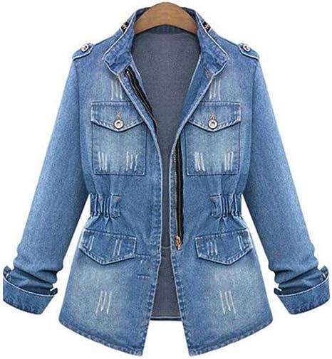 ZVHUK Otoño Solapa Camisa De Pérdida De Peso De Mezclilla Cintura Elástica Chaqueta De Mezclilla Azul Larga Chaqueta De Mezclilla De Gran Tamaño Casual: Amazon.es: Deportes y aire libre